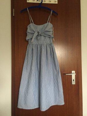 Primark Vestido tipo overol blanco-azul acero