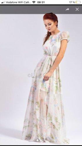 Vestido de chifón azul bebé-blanco tejido mezclado