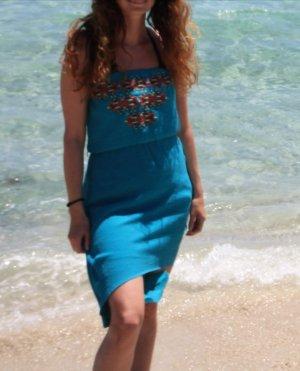 Sukienka boho stalowy niebieski