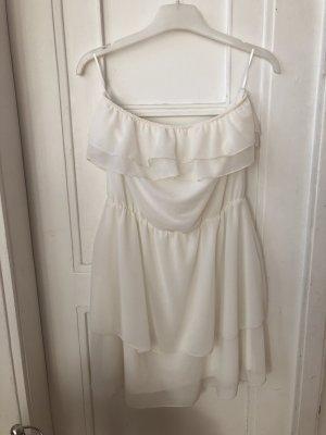 H&M Divided Sukienka z dekoltem typu bandeau w kolorze białej wełny-kremowy