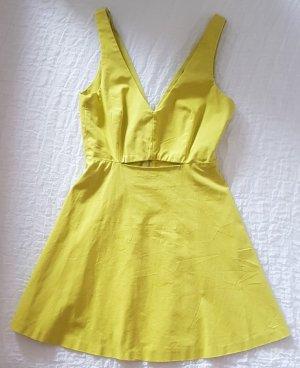 Zara Trafaluc Abito cut out giallo lime Cotone