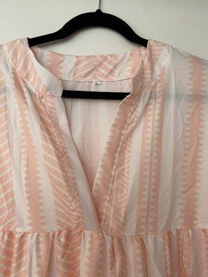 Sukienka z rękawem balonowym biały-brzoskwiniowy