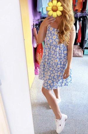 Sommerkleid A-Linie Kleid blumen Blumenkleid gänseblümchen blau weiß white S chic neu ausgestellt