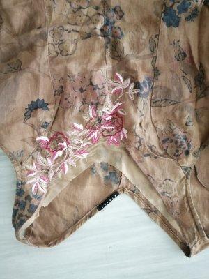 Sommerkleid aus Leinen von Sisleymit Blumenstickerei
