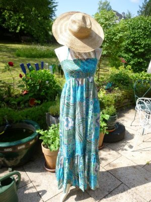 Amisu Sukienka z dekoltem typu bandeau turkusowy-miętowy