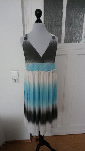 Sommerkleid- blau-grau-weiß - elegant - Schwangerschaftskleid