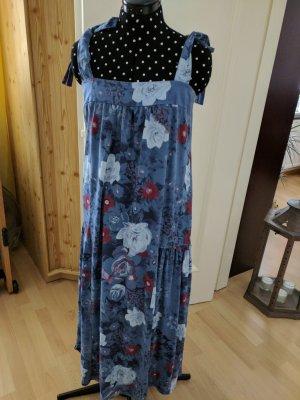 Sommerkleid Blautöne Blumenmuster Gesmokt Träger zum Binden Gr. 40