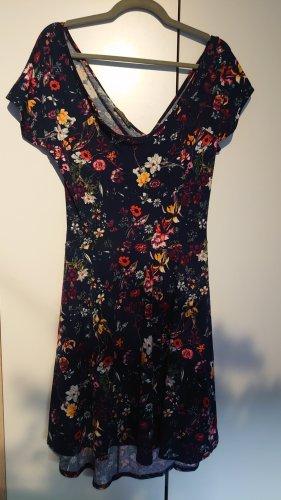 Sommerkleid Blumenprint/U-Boot-/Rücken-/Ausschnitt