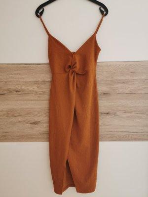 Bershka Robe découpée brun-cognac