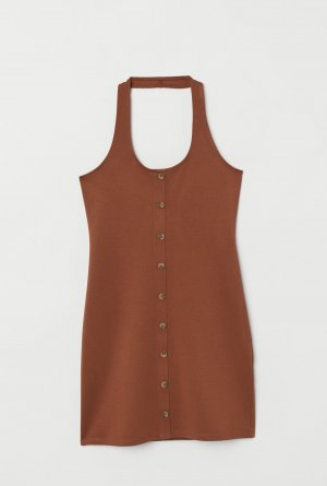 H&M Halter Dress brown viscose