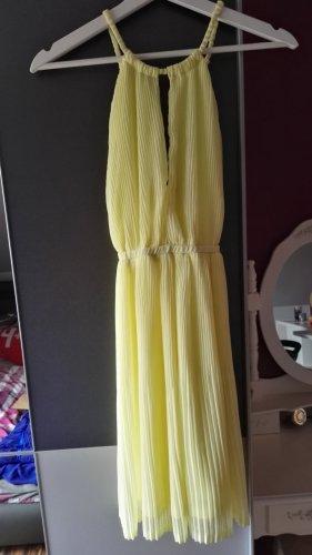 H&M Vestido de cuello Halter amarillo