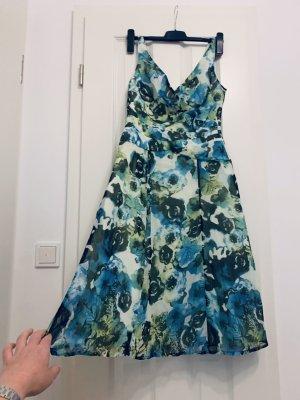 Sommerkleid/ Cocktailkleid/ Kleid türkis grün Floralprint tailliert Gr. 36/S