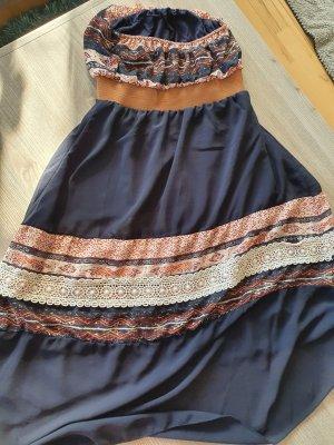 Bandeau Dress light brown-dark blue