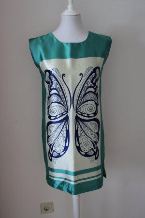 Sommerkleid Damen Schmetterling Gr. 34 XS in grün beige blau Damenkleid Kleid