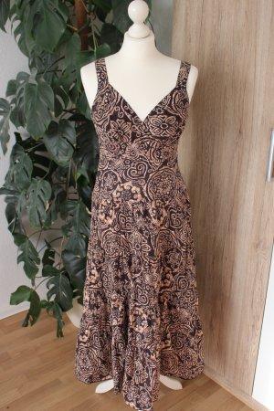 Sommerkleid Dunkelbraun Hippie Muster Midi-Kleid M