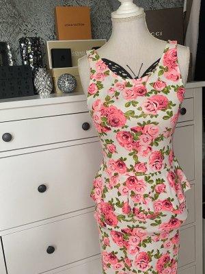 H&M Sukienka z baskinką Wielokolorowy