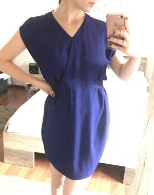 Sommerkleid Escada blau Gr. 36 S Kleid Casual Ballonkleid Gürtel Wickel Optik
