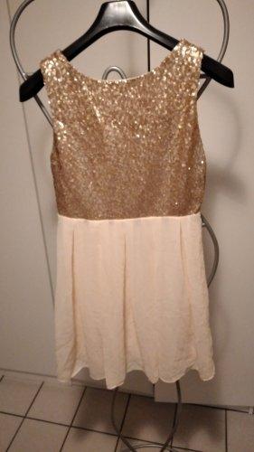 TFNC London Sequin Dress gold-colored-cream