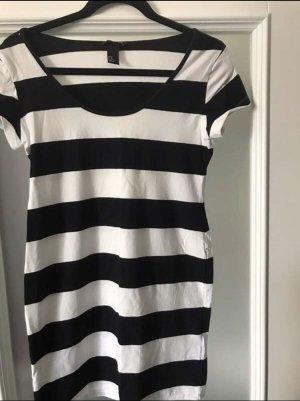 H&M Vestido elástico negro-blanco