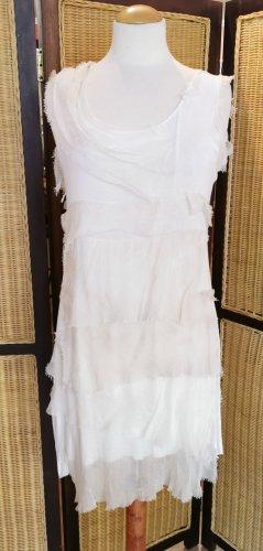 Made in Italy Vestido estilo flounce crema Seda