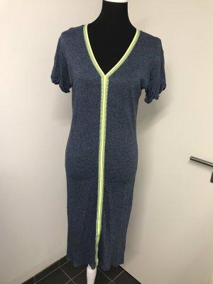 H&M Robe Sweat jaune fluo-bleu foncé