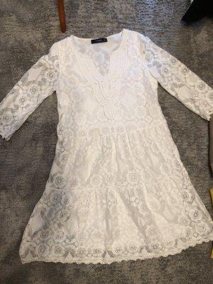 Hallhuber Robe en dentelle blanc cassé