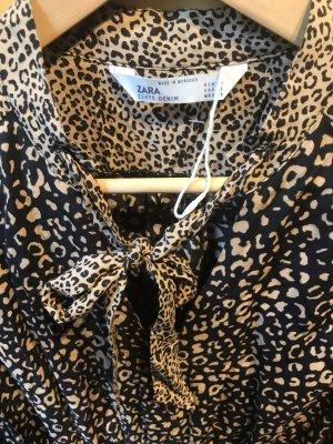 Zara Sukienka z długim rękawem czarny-jasnobrązowy