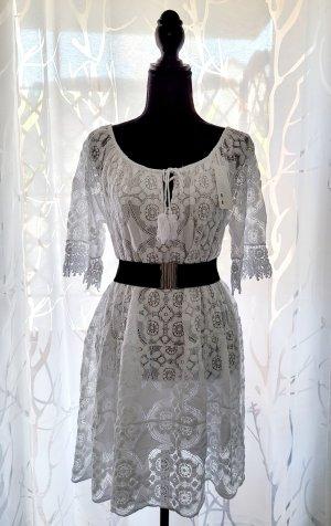 Sommerkleid Italy Moda weiß Spitze NEU