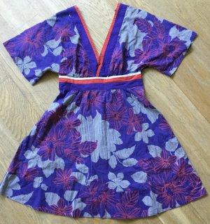 Sommerkleid Kimono Style von GAS in lila orange, Blumenmuster