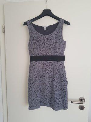 Sommerkleid Kleid aus Spitze in grau schwarz von H&M Gr. 36