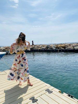 Sommerkleid Kleid Maxikleid Feder weiß bunt one size