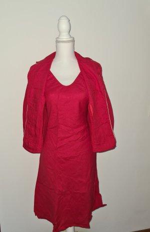 Sommerkleid Kleid mit Blazer aus Leinen in rot weiß Gr. 36