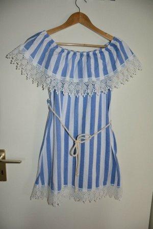 Flounce Dress white-azure cotton