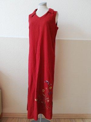 Sommerkleid Leinen Kleid Leinenkleid lang  rot Gr. UK 10 EUR 38 S M
