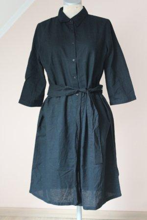 Sommerkleid Leinen neu schwarz mit Gürtel Jeansoptik Gr.  40
