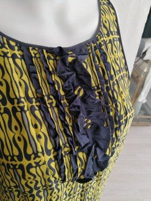 Max & Co. Flounce Dress yellow-steel blue