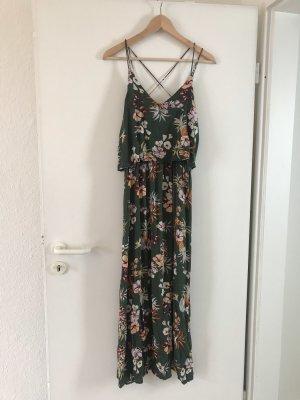 Sommerkleid / Maxi Dress grün mit Blumenprint