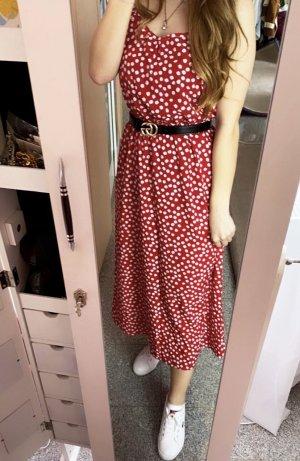 Abendkleid Midi-jurk rood-wit