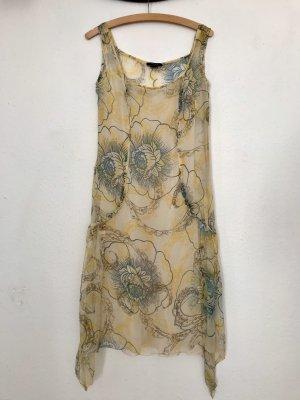 Caractère Midi-jurk lichtgeel-korenblauw