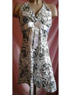 Vestido de cuello Halter blanco-negro