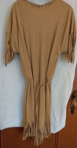 Fringed Dress sand brown