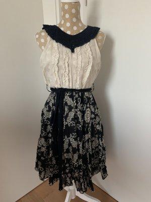 Odd Molly Sukienka boho w kolorze białej wełny-ciemnoniebieski Jedwab
