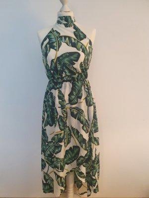 AX Paris Vestido de cuello Halter blanco-verde bosque Poliéster
