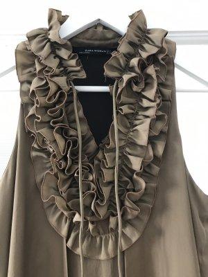 Zara Woman Abito a balze marrone chiaro-marrone Poliestere