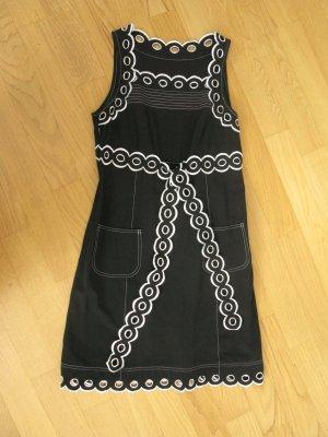 Moschino Robe à bretelles blanc-noir coton