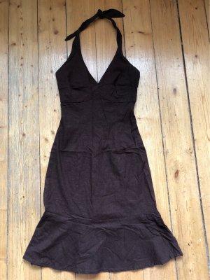 H&M Halter Dress dark brown linen