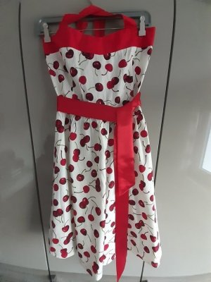 Zarlena Robe dos-nu blanc-rouge fluo coton