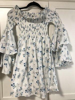 steele Empire Dress white-azure cotton