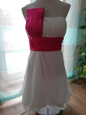 One Shoulder Dress white-pink