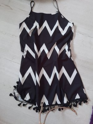 Fringed Dress white-black